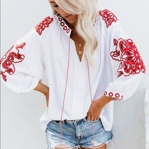 Vici Collection Spanish Steps Peasant Blouse